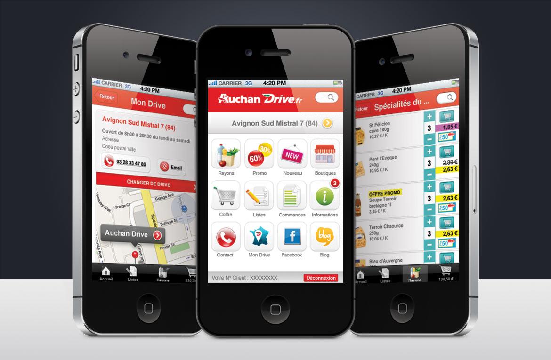 Présentation en triptyque montrant le design de l'interface graphique Auchan Drive