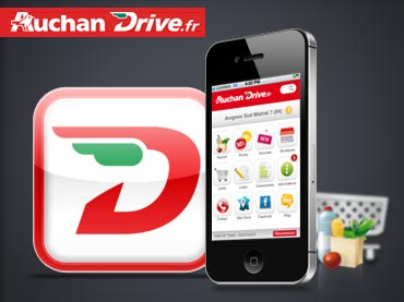 Voir la conception graphique de l'interface mobile Auchan Drive