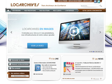 Réalisation du site web Locarchives. Webdesign et développement avec cms Joomla