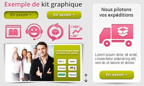 Example de kit graphique réalisé par un webdesigner freelance