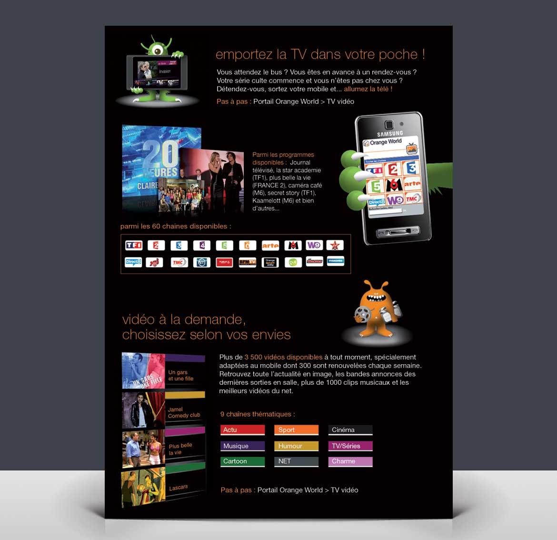 Page intérieure de la plaquette de communication réalisée pour Orange World