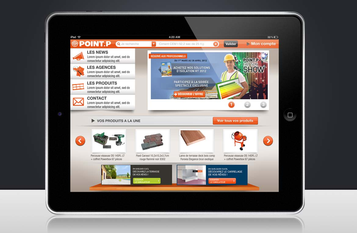 Design page accueil iPad apps