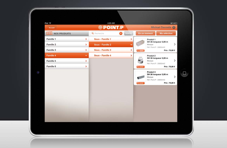 Design d'un écran type de familles de produits