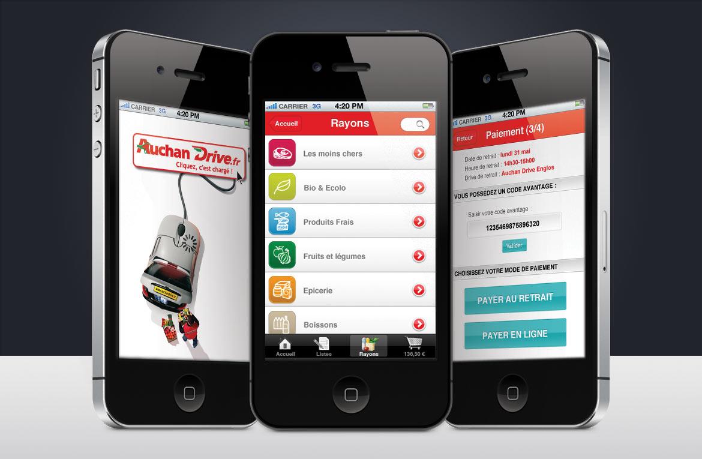 Présentation d'autres écrans iPhone réalisé pour le design de l'apps Auchan Drive