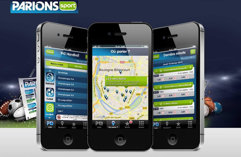 Triptyque d'écrans iPhone designé pour l'apps ParionSport