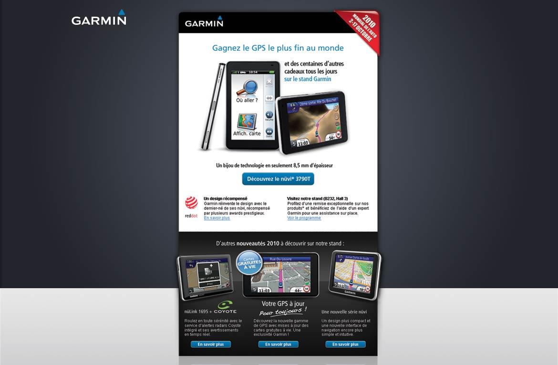 Présentation en vu globale de la conception graphique de la newsletter Garmin
