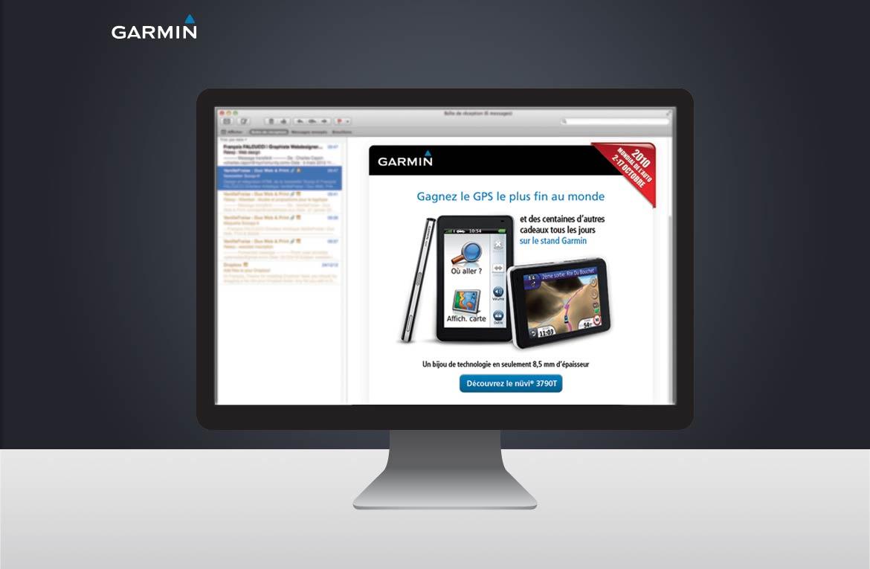Présentation de la newsletter Garmin dans un écran d'ordinateur