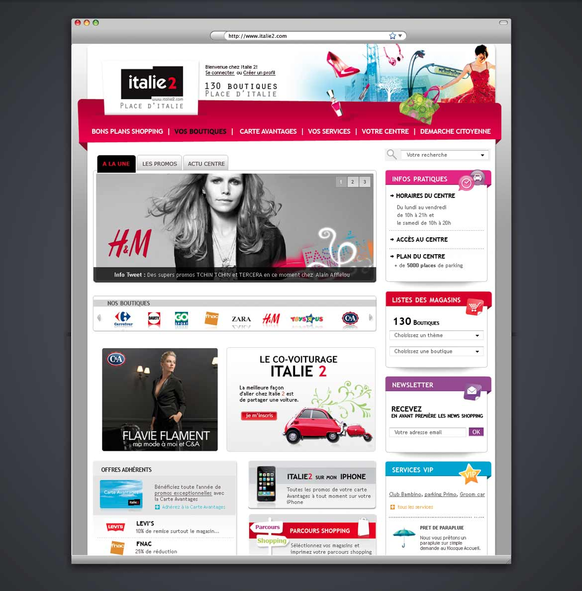 Design du site web du centre commercial Italie2