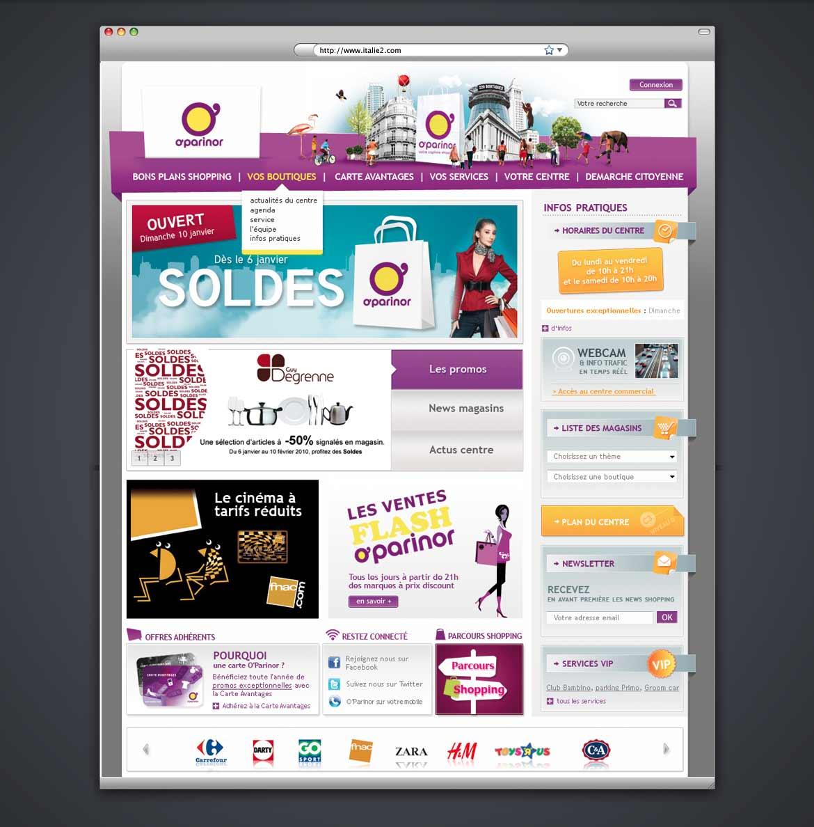 Design du site web du centre commercial O'Parisnor