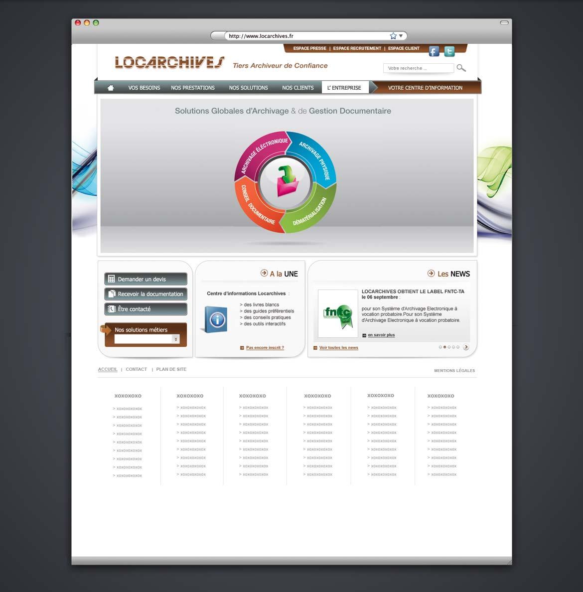 Présentation de la maquette graphique de la page d'accueil du site