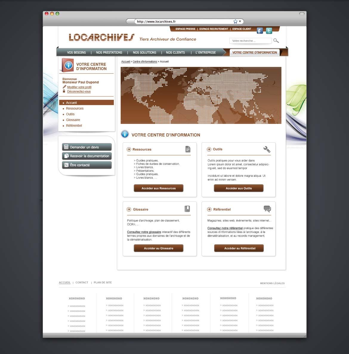 Présentation de la maquette graphique de la page d'accueil du centre d'information