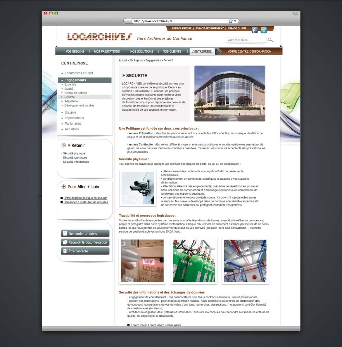Présentation du web design de la page sécurité