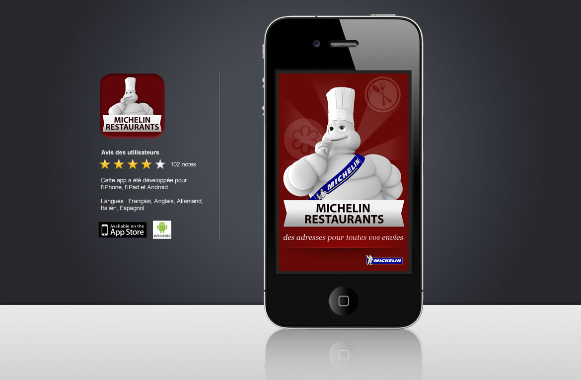 Image de présentation de l'apps Michelin Restaurants designé par le Collectif Freelance vanilleFraise