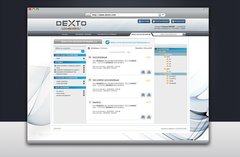Design de l'écran de résultat d'une recherche d'archivage électronique