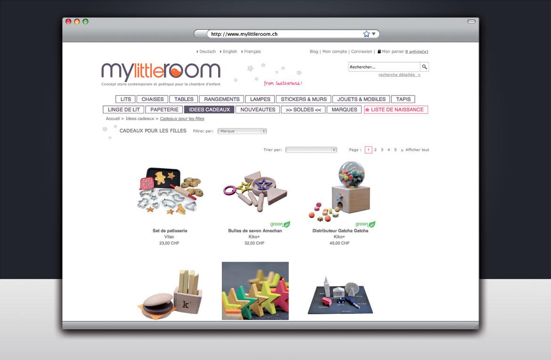 Maquette graphique de la page produits