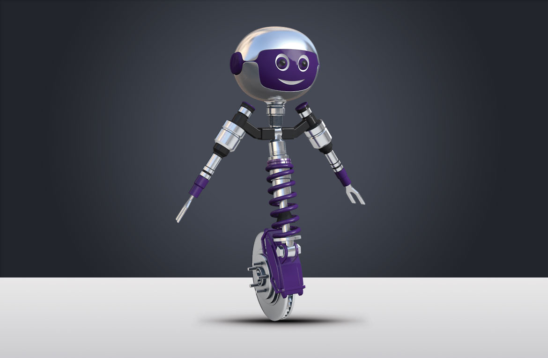Création graphique d'une mascotte-robot en 3D