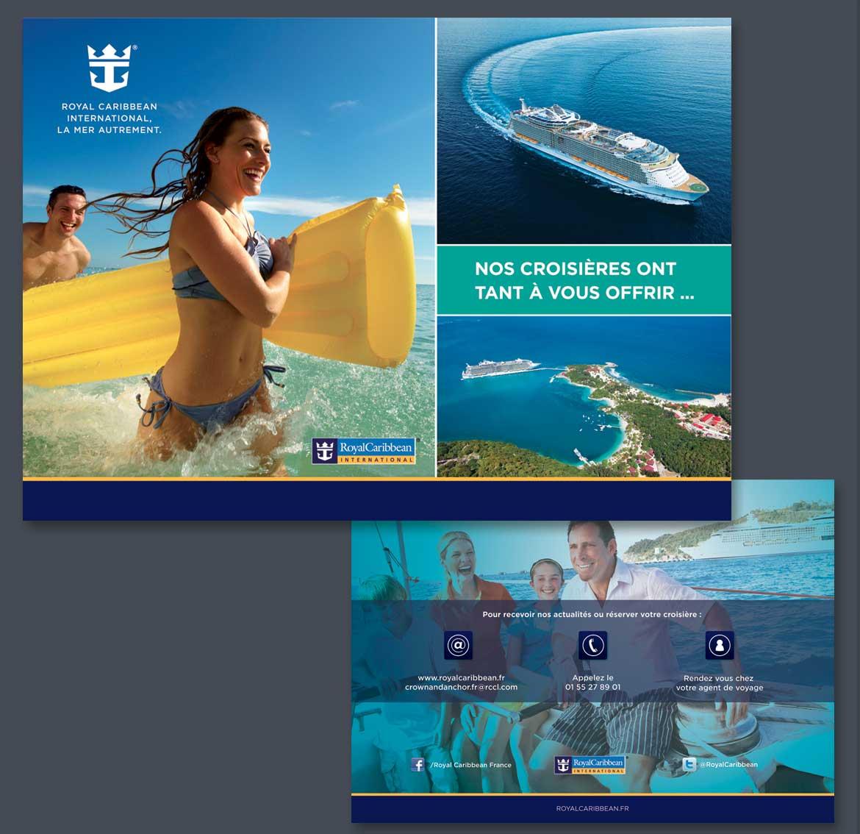 Pages intérieures d'une plaquette de communication pour Royal Caribbean