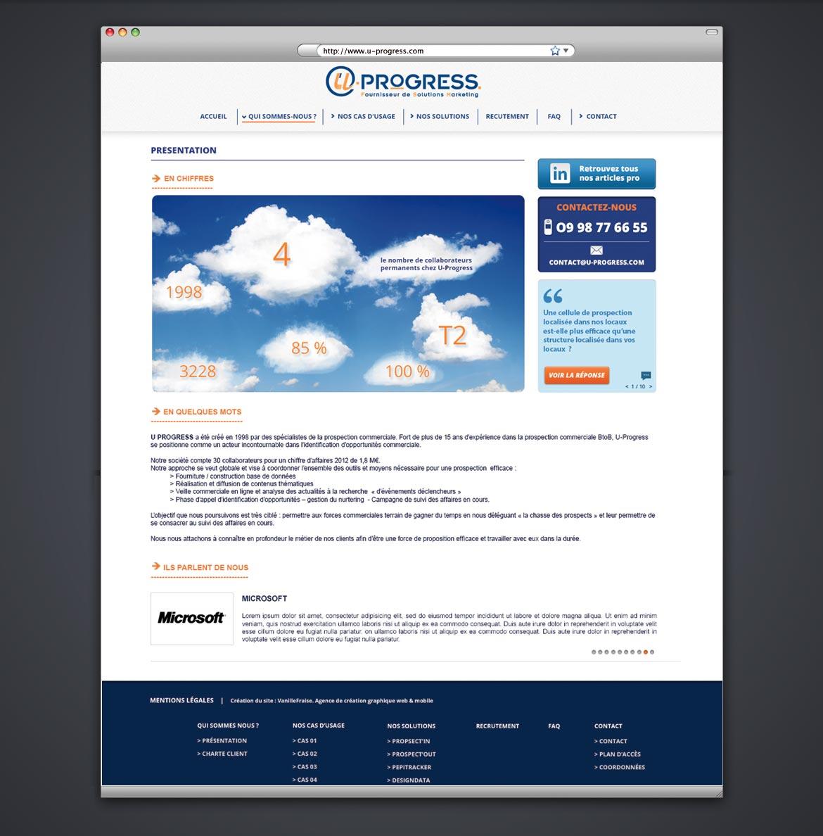 Design d'une page intérieure type du site.